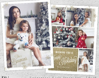 Photo Christmas Cards, Holiday Photo Postcard, Christmas Photo Card, Christmas Card Templates, Photoshop Template, Photographer, Glitter