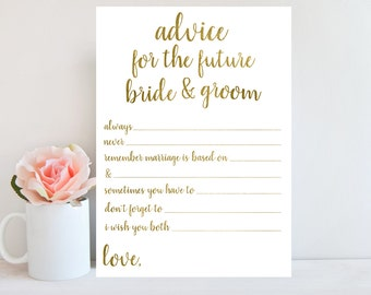 Bridal Shower Game, Advice for the Bride and Groom, Bridal Shower Printable Card, Gold Wedding Shower Advice Card, Instant Download BRSG1