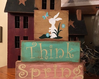 Primitive Think Spring Wooden Block Set