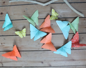 Mobile of 12 butterflies in multicolored origami, presents birth, driftwood, baby, origami, room decoration decoration, butterfly
