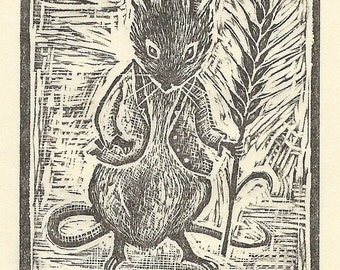 Mr Mouse Original Wood Engraving
