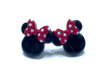Mickey and Minnie Mouse Earrings - Minnie Mouse Icon Earrings - Mickey Mouse Icon Earrings - Minnie Mouse Bow Earrings - Disney Earrings