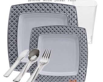 Diamond White with Silver Plastic GRAND Party Package