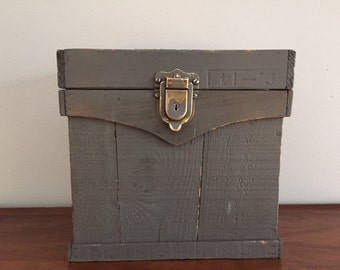 Wooden Box With Hinged Lid and Brass Latch