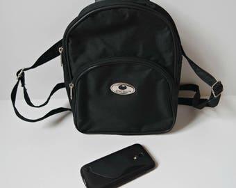 Vintage Black Backpack,  Black Mini Rucksack, Mini Bacpack