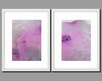 "Set of 2 -  7""x5"" Original Purple and Gray, Acrylic Paintings, Abstract Painting, Art Painting, Abstract Art, Original Art, Gift for Mom"