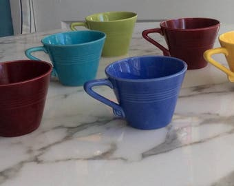 Vintage Harlequin Coffee Cups by Homer Laughlin. Lot of 6.