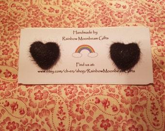 Black Heart Earrings, Stud Earrings, Fluffy Hearts