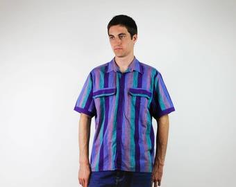 90's summer shirt,  menswear fashion,Striped shirt, Casual Button Up, Blue, Green and purple shirt, short sleeved shirt, medium size