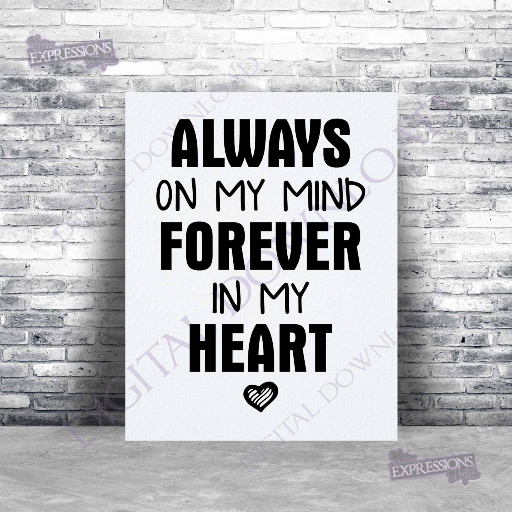 Always on my mind forever in my heart Clipart Vector Download