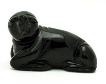 Sea Lion Black Obsidian Hand Carved Gemstone Animal Totem Statue