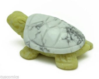 Turtle Howlite and Lemon Serpentine Hand Carved Gemstone Animal Totem Stone