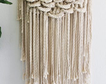 Scallopped macrame wall hanging