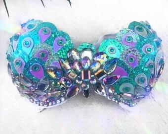 Turquoise Mermaid Crystal / rhinestone Rave Bra !NEW!