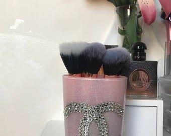 Pink Chanel inspired makeup brush holder