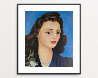 Diego Rivera - Portrait of Alergra, 1942 - Vintage Book Page - Mexican Art - Diego Rivera Print - Diego Rivera Painting - Blue Art