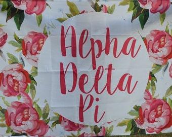 Alpha Delta Pi Sorority Floral Flag