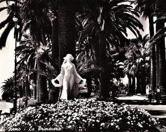 Vintage 60s B&W Italian Travel Postcard La Primavera San Remo Milan Promenade Scene Real Photo Posted Vintage Stamp