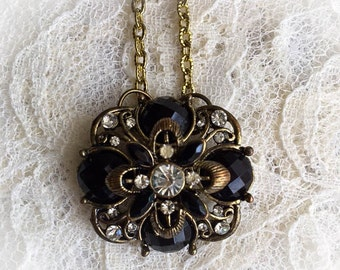 Victorian Flower Black & Gold Pendant Necklace