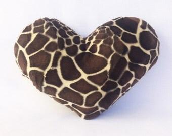 Decorative Heart Pillow 11x13 in. Faux Fur Golden Giraffe