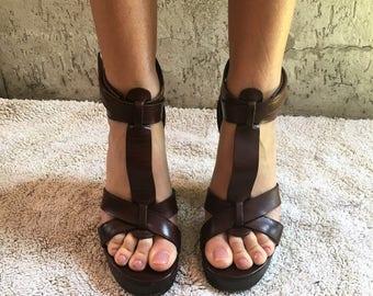 Dolce & Gabbana Couture Leather Wood Shoe Sandal Sabot
