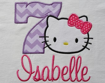 kitty birthday shirt, personalized kitty birthday shirt, kitty shirt with name and number for birthday party, kittycat with bow, cat shirt