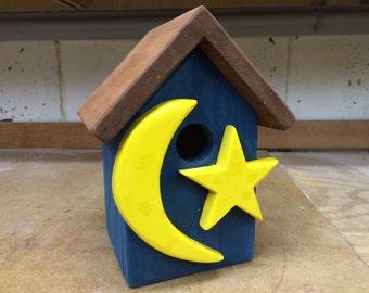 Handcrafted, Handmade Folk Art Birdhouse: The Moon and the Star Birdhouse
