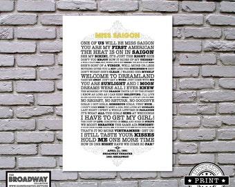 Miss Saigon - Unframed - Quotes - Lyrics - Typography Print