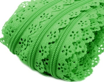 1 m lace zipper with yellow-green 5 zipper