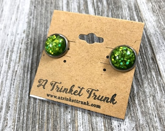 Lime Sparkle Earrings- Green Stainless Steel Earrings