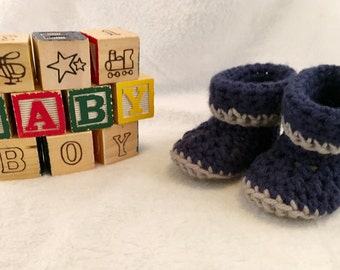 Navy Blue and Grey Crochet Baby Booties