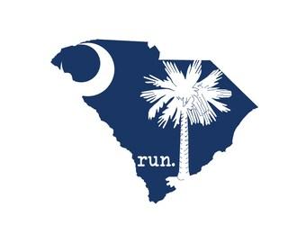 Run SC State Flag Outline