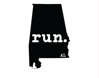 Run AL State Outline Magnet