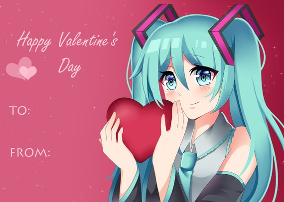 Miku Anime VALENTINES DAY card 5x7 inches – Anime Valentines Card