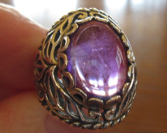 Large Natural Amethyst and Hefty Sterling Silver Ring, Size 7.25