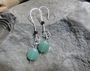 Jade, black onyx , sterling silver  eardangles