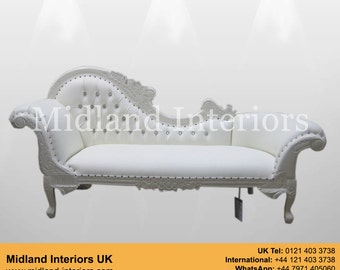 NEW Paris Chaise Longue Sofa - White & white leather