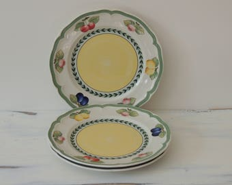 Villeroy and Boch Salad Plates, set of 3, dessert plates, french garden fleurence pattern, fruit design plates, porcelain plates