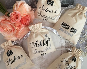 Survival Kit - Bachelorette Party Favors, Bridal Shower, Bridesmaid, Wedding, Personalized Goodie Bag Pouch Thank you-Drawstring Cotton