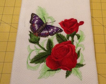 Roses with Butterfly!  Embroidered Williams Sonoma All Purpose Kitchen Hand Towel,  100% Cotton, Made in Turkey, XLarge