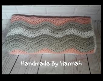 Handmade crochet baby ripple blanket