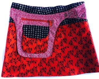 ble Skirt-Wrap Skirt-Mini Length Skirt- Adjustable Waistline-Onesize fits most- Detachable Reversible Pocket-Red & Black Skirt