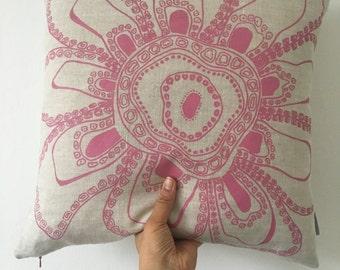 Handprinted 'Pink Flower' cushion