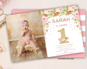 floral first birthday invitation, pink and gold party invite, girl first birthday invitation, floral birthday invite, 1st 2nd 3rd bday