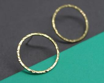 Gold hoop studs, gold brass circle studs, large gold circle stud earrings, hammered gold circle studs,open circle studs,minimalist jewellery