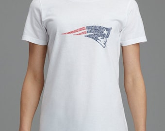New England Patriots Super Bowl Champions Flying Elvis Roster T-shirt ~ SBLI, Football, Mens, Ladies, White, ring-spun cotton, tee, fitted