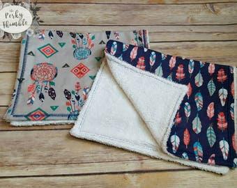 Personalized Burp Cloth set, Baby girl Burp cloths, Modern burp cloth, Feathers burp cloths, Aztec baby nursery, baby shower gifts under 15