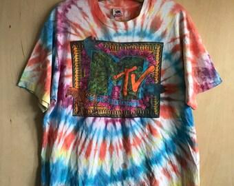 "80's MTV ""Logo"" Tie-Dye T-Shirt XL"