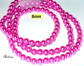 1 strand 82cm = 114 glass beads lilac metallic 8 mm (808.20.1)