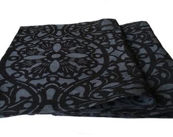 """4 place mat / placemat 1-ply """"Rasa"""" 34 x 46 cm half linen Jacquard black/anthracite"""
